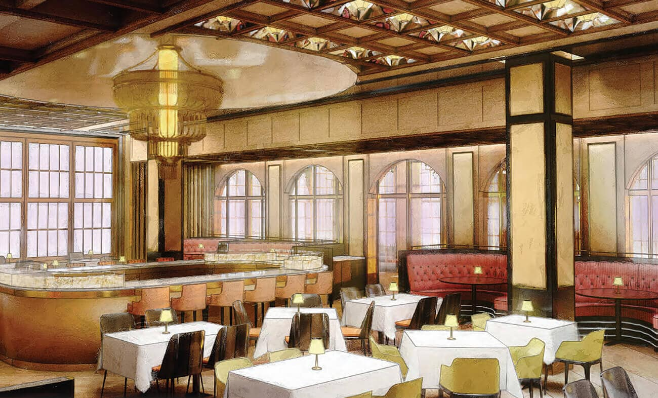 Twelve Thirty Club   Drawing of Dining area and bar top