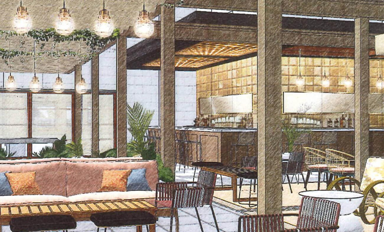 Twelve Thirty Club   Drawing of bar and seating area
